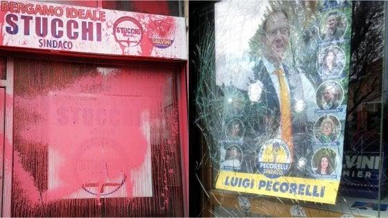 """Bergamo e Como, vandalizzate sedi dei candidati sindaci della Lega. Salvini: """"Più ci attaccate, più ci date forza"""""""