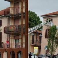 Salvini in tour nel Bergamasco, striscione