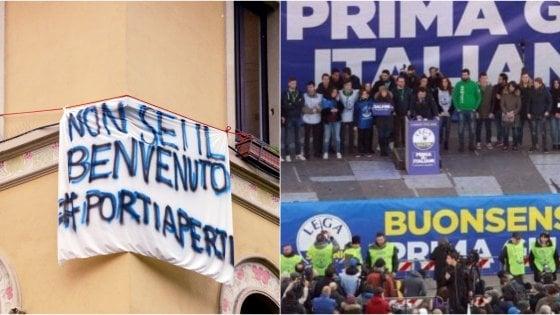 La doppia piazza di Milano |  i sovranisti di Salvini e la protesta degli striscioni |  600