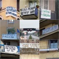 """""""Meno Salvini e più gattini"""", """"Ridategli Zorro"""": gli striscioni di Milano contro il raduno sovranista"""