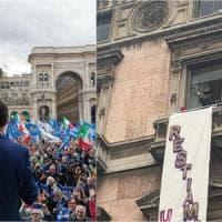 Milano, Salvini e i sovranisti non riempiono piazza Duomo. Fischi al Papa. Protesta degli...
