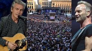 Sting e Ligabue al concerto di Radio Italia in piazza Duomo