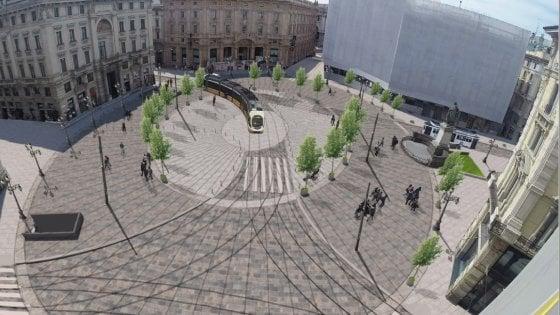Milano, il progetto per la nuova piazza Cordusio: solo pedoni e tram, alberi lungo l'ellisse