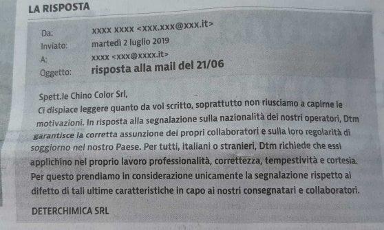 """Razzismo nel bresciano, la mail della ditta ai fornitori: """"Non mandate corrieri di colore"""""""