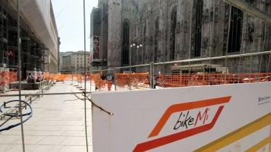 Foto  Bikemi raddoppia in piazza Duomo: nuovi stalli per le bici grazie ai fondi europei