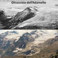 Sulle cime dell'Adamello, dove il bianco del ghiacciaio è mangiato dal caldo