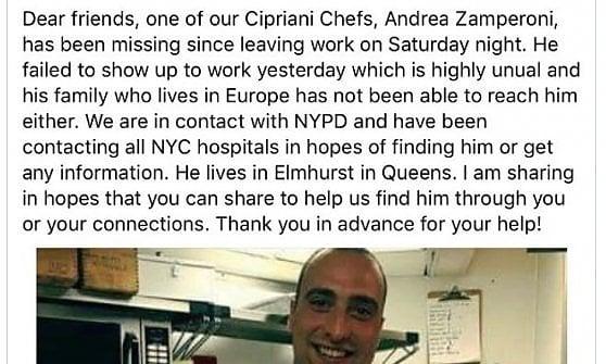 Andrea Zamperoni, da Lodi a New York: chi è il 33enne chef scomparso nel nulla