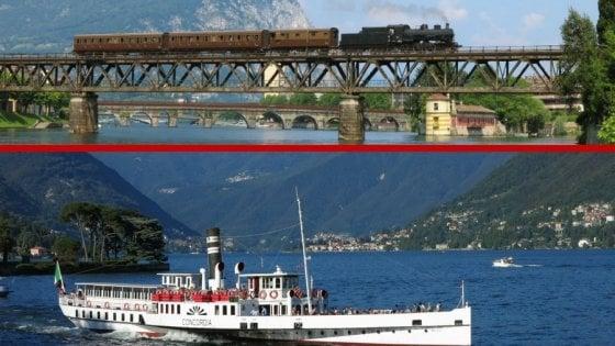 Laghi lombardi, la gita è vintage sul treno a vapore e sul piroscafo d'epoca