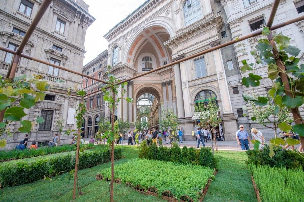 Piazza Scala diventa un orto con le verdure per la Milano Fashion Week
