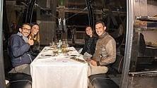 Livigno, spettacolo sulla cabinovia: la cena gourmet è servita