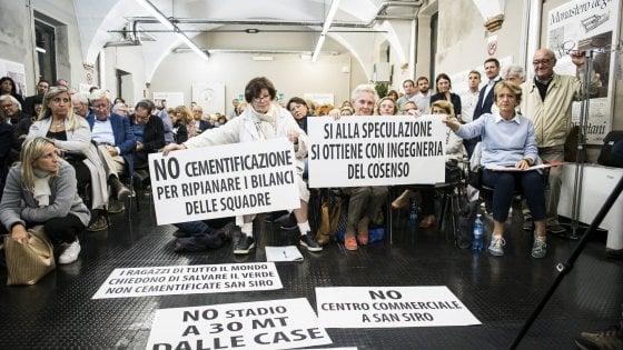 """No dei residenti al nuovo San Siro:  """"Volete solo costruire grattacieli"""""""
