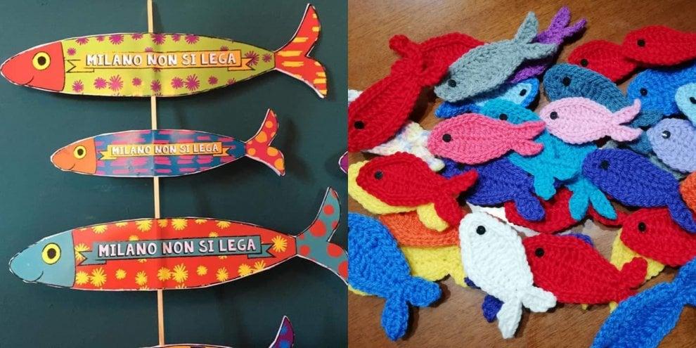 Uncinetto, maglia e in scatoletta: le sardine si preparano a nuotare a Milano