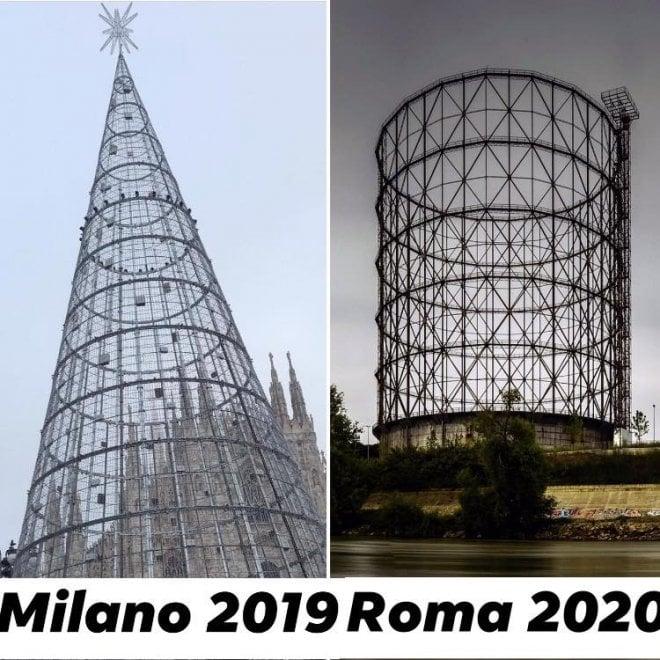 Albero Di Natale Roma 2020.L Albero Di Natale Di Milano Sembra Il Gasometro Di Roma L Ironia Del Marito Di Raggi Su Ferracchio La Repubblica