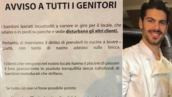 """""""Lasciate i bambini maleducati a casa o cambiate locale"""": il cartello-provocazione del pizzaiolo di Sondrio"""