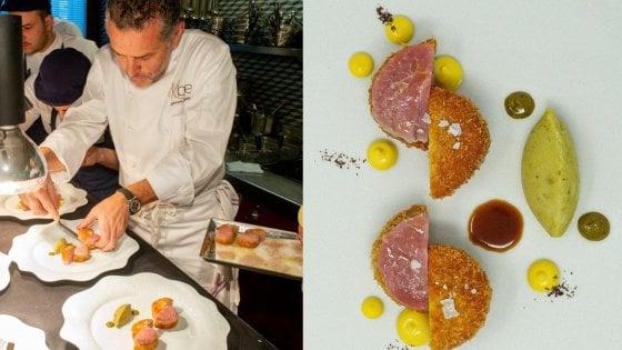 """Lo chef Perbellini brevetta la """"sua"""" cotoletta alla milanese: """"Cruda e cotta con una patata al pistacchio"""""""