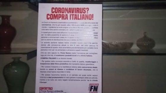Blitz razzista di Forza Nuova a Como e Brescia: volantini sul coronavirus attaccati alle vetrine di negozi cinesi