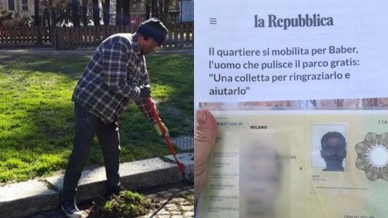 La vittoria del quartiere per Baber: permesso di soggiorno temporaneo per il migrante che pulisce il parco