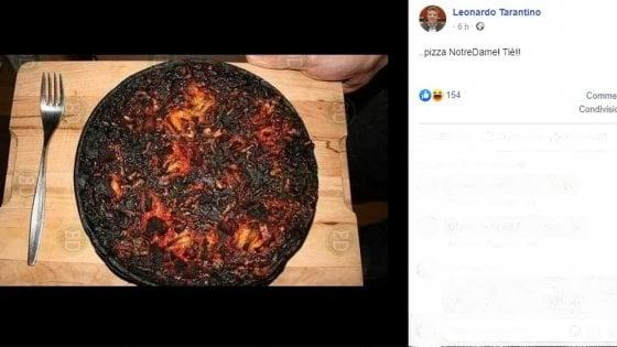 Coronavirus, la risposta leghista ai francesi: ecco la pizza bruciata Notre Dame, ed è polemica sui social