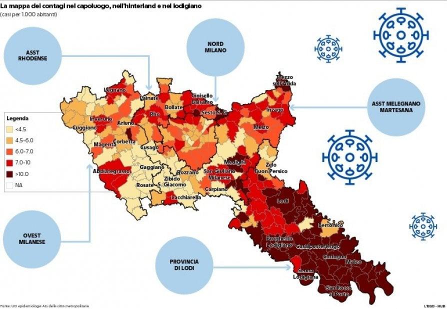 La prima foto del virus a Milano: la mappa dei contagi in città e nell'hinterland