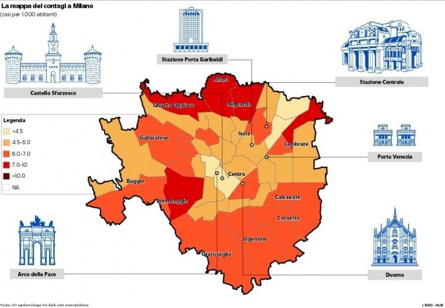 Cartina Italia In Inglese.Mappa Dei Contagi A Milano L Immagine Che Mostra I Dati In Citta E Nell Hinterland La Repubblica