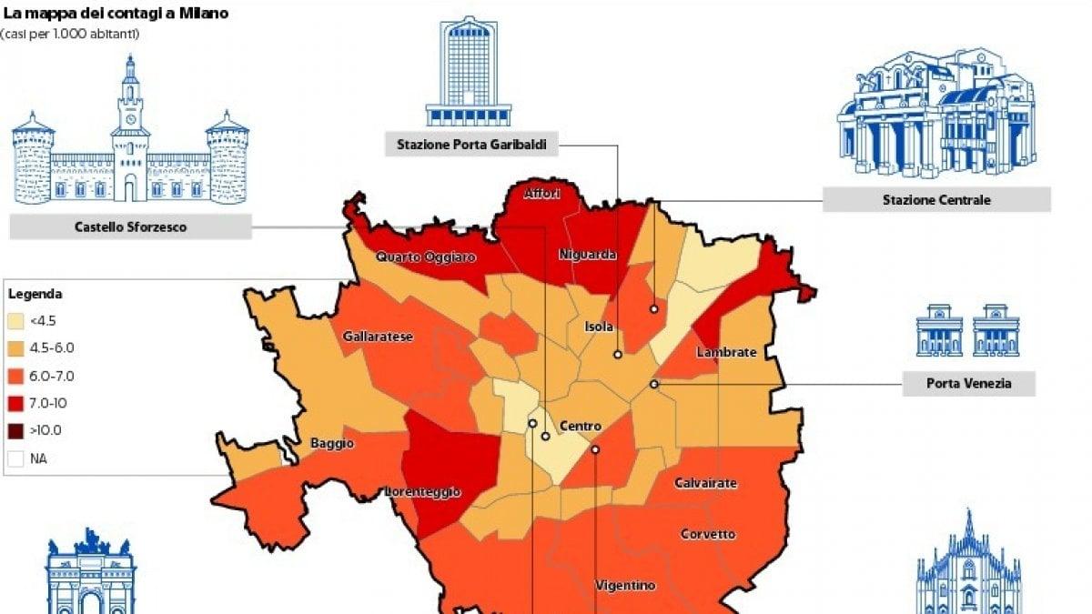 Cartina Geografica Cartina Comuni Della Provincia Di Cremona.Mappa Dei Contagi A Milano L Immagine Che Mostra I Dati In Citta E Nell Hinterland La Repubblica