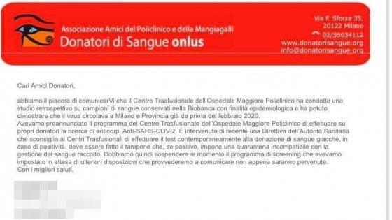 Coronavirus e donazioni di sangue: il Policlinico di Milano studia un protocollo per individuare chi ha gli anticorpi