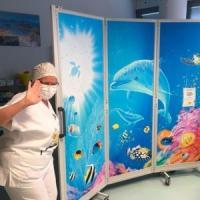 Fondali marini dipinti su pannelli in corsia: nell'ospedale di Bergamo il