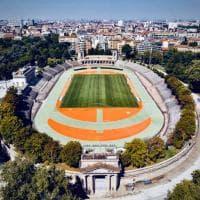 Rinasce l'Arena civica Gianni Brera di Milano: Filippo Tortu posa con Beppe Sala per l'inaugurazione