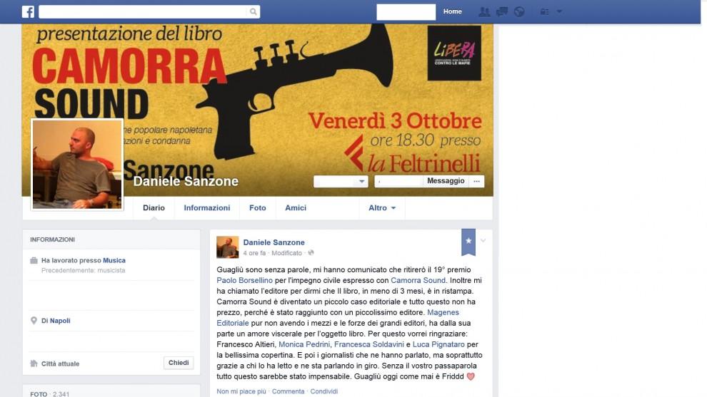 """Il premio Borsellino al libro """"Camorra Sound"""" del cantante Daniele Sanzone"""
