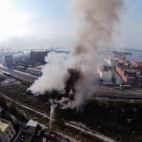 In fiamme il Parco della Marinella