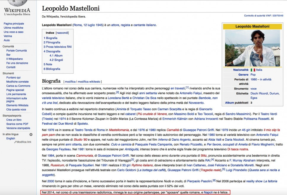 """Dopo le polemiche, Mastelloni """"romano"""" su Wikipedia"""