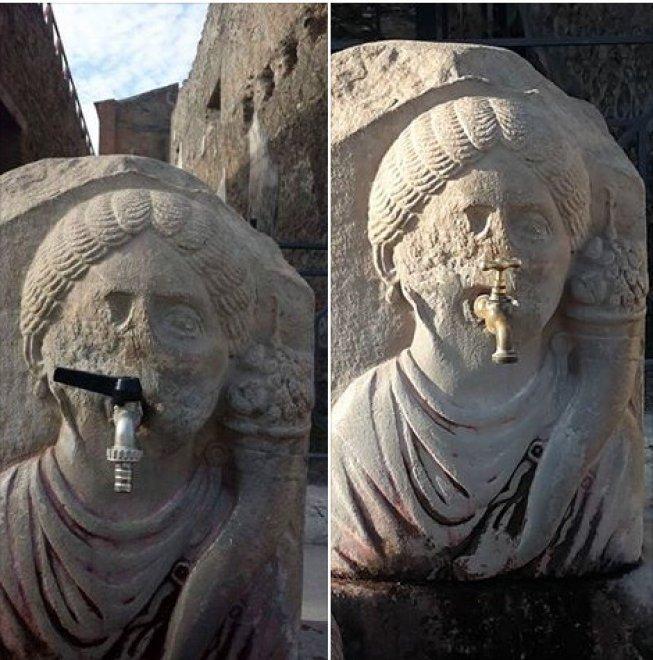 Pompei, lo scempio del rubinetto di plastica esplode sui social e interviene la Soprintendenza