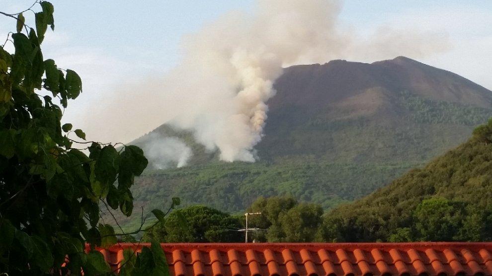 Incendio sul Vesuvio. A rischio il parco nazionale.