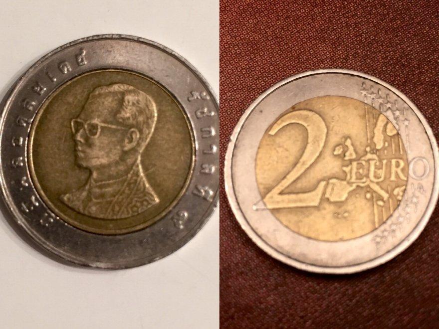 Allarme per le monete thailandesi al posto di due euro nei supermercati