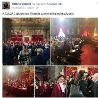 Valeria Valente all'inaugurazione dell'anno giudiziario. E la candidata posta in diretta le foto su Facebook