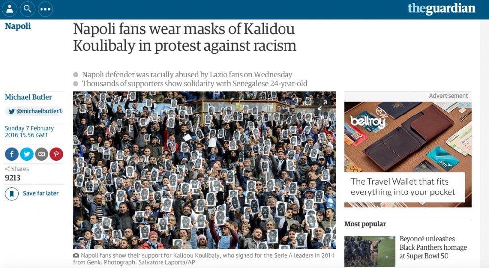 Stadio San Paolo, finisce sul Guardian la solidarietà con Koulibaly
