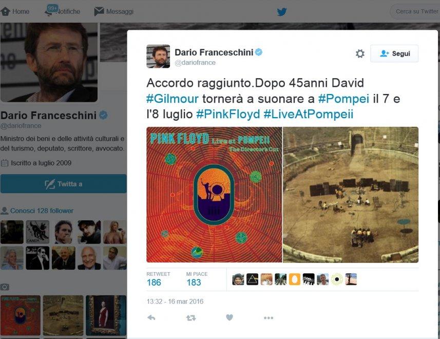 "Tweet del ministro Franceschini: ""Pink Floyd live a Pompei"""