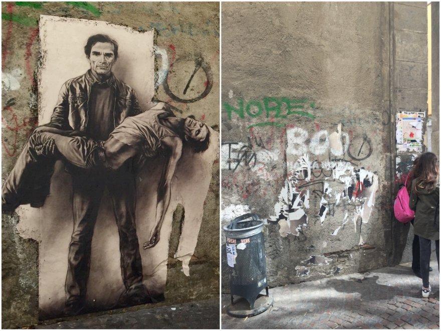Distrutto lo stencil di Pier Paolo Pasolini a Santa Chiara