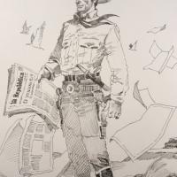 Tex Willer, omaggio a Repubblica in un disegno unico del talento argentino Enrique Breccia
