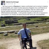 Paestum, Gabriel Zuchtriegel prova il percorso per i disabili