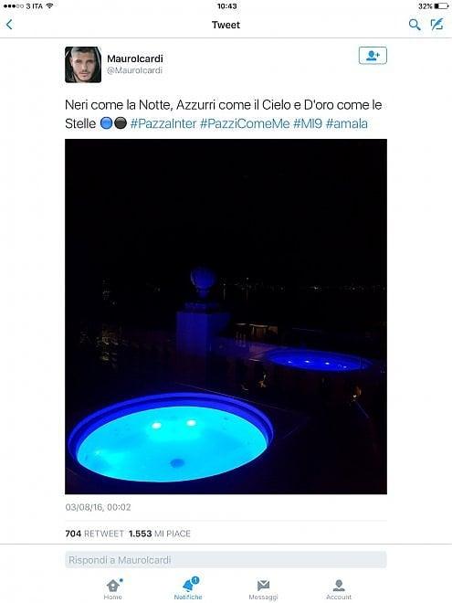 Icardi gela i tifosi del Napoli twittando in nerazzurro