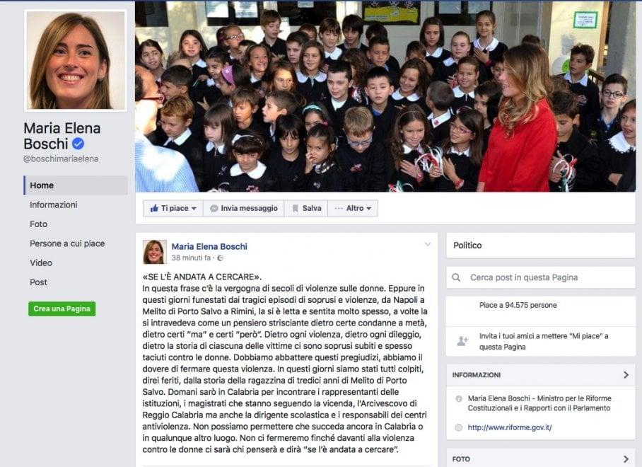 """Maria Elena Boschi sul suicidio di Tiziana: """"Mai dire: se l'è cercata"""""""
