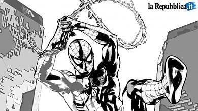 Spider -Man tra i grattacieli del Centro direzionale per festeggiare il nuovo traguardo della pagina Fb di Repubblica Napoli