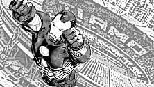 Iron Man in volo  sullo stadio San Paolo