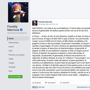 """""""Amo Napoli..."""", il post di Fiorella Mannoia"""