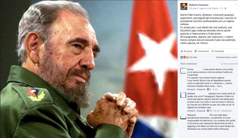 """Fidel Castro, il post di Saviano: """"E' morto un dittatore"""""""