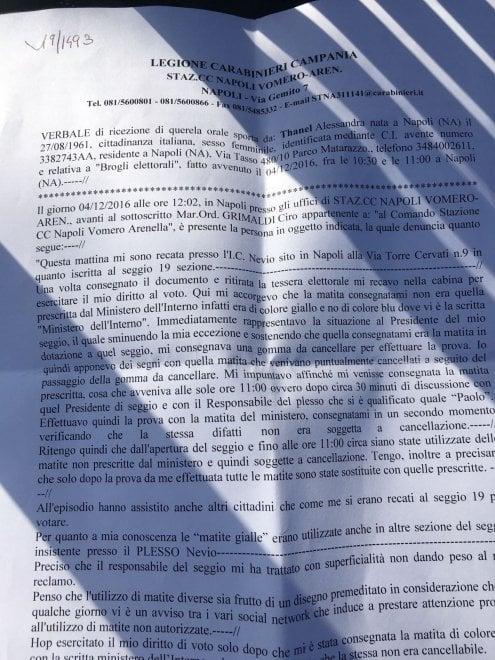 """Referendum, denucia alla polizia: """"Quella matita è cancellabile"""""""