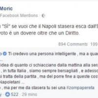 La Moric contro il Napoli su FB: