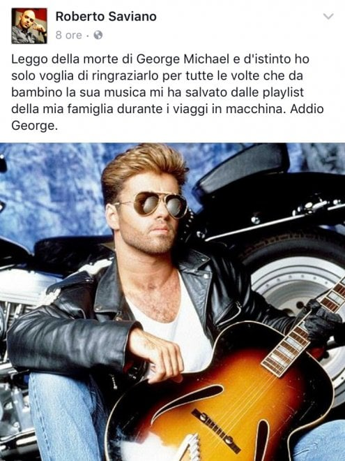 """Il post di Saviano per George Michael: """"Mi ha salvato dalle playlist della mia famiglia"""""""
