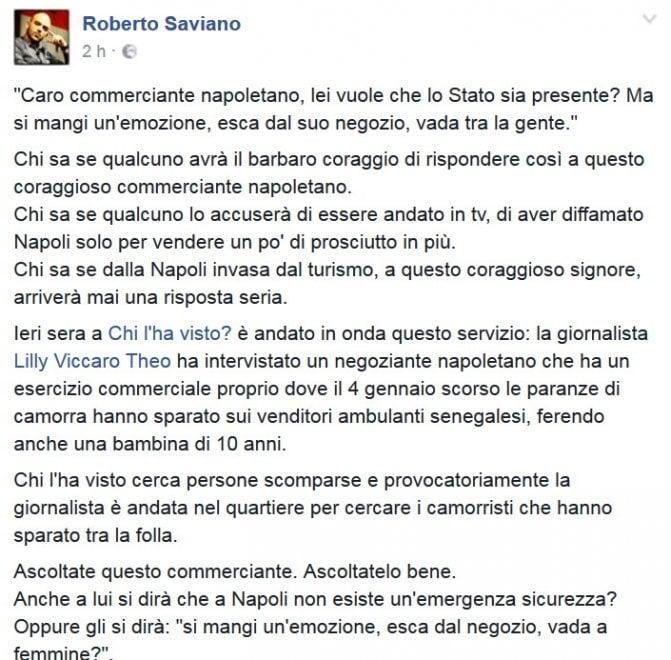Saviano-de Magistris, il post su Fb dell'autore di Gomorra